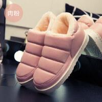棉拖鞋男女情侣韩版可爱室内厚底家居包跟防水毛绒pu皮面保暖