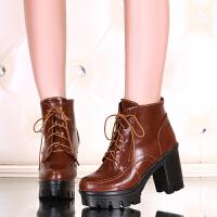 彼艾2016秋冬欧美高跟女靴方头系带女鞋马丁靴防水台短靴子粗跟及踝靴