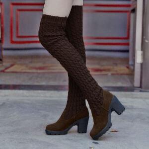 ELEISE美国艾蕾莎新品秋冬182-A169韩版毛线高跟粗跟女士毛线过膝长靴