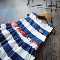 大气2017夏装新款童装女童条纹背心裙海军风韩版连衣裙带腰带