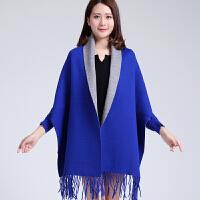 新款秋冬加厚披肩围巾两用女斗篷有袖流苏双面蝙蝠袖仿羊绒针织衫