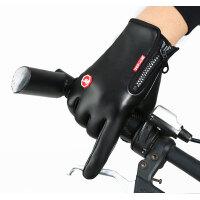 户外保暖触屏手套男士运动骑行开车全指防风防水加绒女皮手套