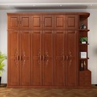 中式实木衣柜橡胶木三四五六门整体组合木质衣橱转角开门卧室衣柜 6门 组装