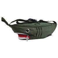 新款韩版漆皮帆布男女包包单肩斜挎包小包潮流疯狂鲨鱼胸包