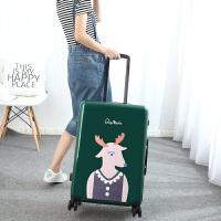 可爱卡通旅行箱子拉杆箱女大学生20寸登机箱小清新行李箱万向轮24 绿色 24寸