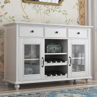 美式实木餐边柜白色酒柜餐具收纳柜餐厅柜现代简约储物柜 象牙白色 双门