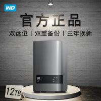西部数据(WD) 双盘位桌面存储 My Book Duo 移动硬盘3.5英寸 黑色 12TB(WDBLWE0120JC