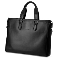 新款欧美时尚商务男士手提包横款真皮公文包头层牛皮休闲男包14寸