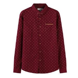 森马长袖衬衫男士波点印花休闲纯棉保暖衬衣韩版潮学生潮流寸衫