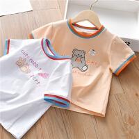 女童夏装T恤可爱女宝宝卡通印花上衣小孩圆领短袖t恤衫
