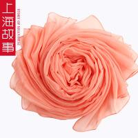 上海故事春秋冬季女士加大加长雪纺围巾纯色丝巾围巾披肩