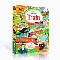 全店满300减100】英文原版Wind-Up Train 上发条的小火车大开本英语纸板书 带发条的火车益智儿童玩具书 彩