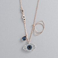 Swarovski/施华洛世奇女士蓝黑水晶恶魔之眼玫瑰金色项链5172560