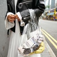 透明果冻包包女大容量PVC购物袋手提包韩国新款ins超火字母沙滩包 透明白