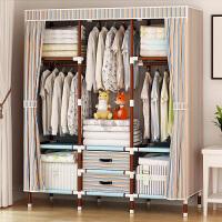 简易衣柜简约现代经济型布艺钢管加厚衣柜单人双人收纳柜组装 桔条色 166
