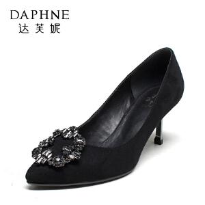 Daphne/达芙妮 秋季时尚尖头浅口女高跟鞋水钻细跟婚鞋