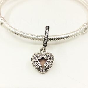 PANDORA潘多拉天使的翅膀粉红色珐琅心925银串饰DIY珠子791737CZ