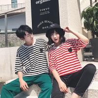 情侣装夏装新款短袖T恤条纹半袖体恤衫宽松学生韩版潮