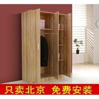 简约实木质板式衣柜 简易衣架 大容量储物柜 三四门衣橱