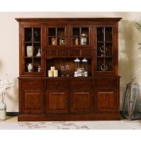 美式餐边柜实木备餐台两门茶水柜碗柜储物柜简约欧式橱柜酒柜家具 6门以上