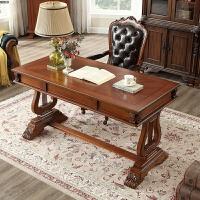 美式书桌简约实木办公桌电脑桌欧式实木总裁书桌老板桌轻奢写字台 否