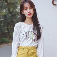 新款秋季白色学生女士韩版套头宽松刺绣百搭长袖t恤女装秋装