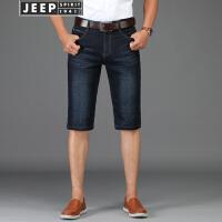 JEEP吉普 牛仔短裤男2018夏季新品男士微弹牛仔五分裤男装直筒休闲薄款牛仔中裤