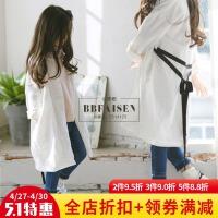 2017春季新款韩版童装女孩棉麻中长款森系外套女童风衣中大童外套