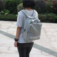 防水尼龙双肩包女包旅行学生收纳包商务书包妈咪包15.6寸电脑背包 灰色小号 可装13.3寸电脑