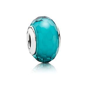 PANDORA潘多拉 亮青色闪烁琉璃925银琉璃串饰791655