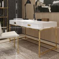 书桌简约后现代不锈钢金色轻奢烤漆白书房写字台北欧办公桌个性 否