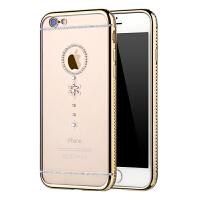Q果 iphone6s手机壳 水钻电镀边框镶钻手机套苹果6s带钻奢华潮女