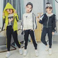 秋装女童运动休闲套装韩版中大童连帽卫衣卫裤时髦两件套