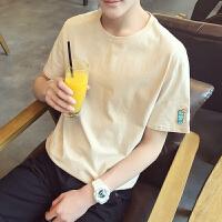 短袖T恤男韩版刺绣圆领打底衫情侣夏季新款风体恤学生潮