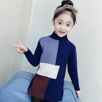 女童毛衣套头儿童中长款撞色针织打底衫宝宝中大童装