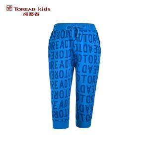 探路者TOREAD品牌童装 户外运动 夏装男童针织满印缩口运动七分裤 儿童七分裤