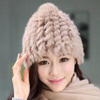 兔毛帽子女韩版潮可爱纯色女士毛绒保暖护耳帽套头