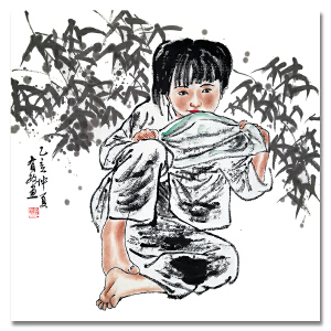 陕西国画院国家一级美术师 王有政《孩童》LL214