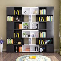 书橱简约现代书柜书架北欧家具简易落地自由组合客厅书房带门柜子 1.4米以上宽