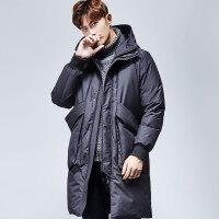 yaloo/雅鹿羽绒服男 中长款2017新款冬季加厚保暖修身连帽外套潮  YS6107640