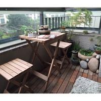 简易实木折叠桌椅子餐桌子户外阳台休闲咖啡桌椅学习书桌 圆桌 咖啡色(单张)