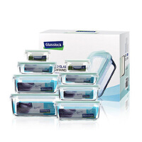 GlassLock 三光云彩 韩国进口 钢化玻璃扣 保鲜盒 礼品 GL09-8A八件套装