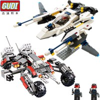 一号玩具 古迪拼装积木地球边境科幻战机大炮军事模型儿童益智玩具6-12岁
