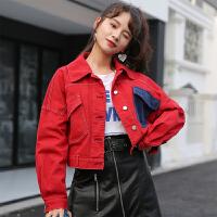 牛仔外套女2018秋装单排扣新款韩版撞色拼接短外套百搭学生夹克
