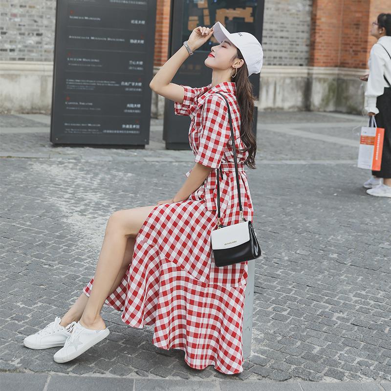 RANJU然聚 2018夏季女装新品新款格子连衣裙女夏冷淡风裙子超仙学生森系及踝衬衫鱼尾长裙
