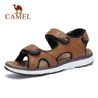 camel骆驼男鞋2019夏季新款休闲透气沙滩鞋耐磨魔术贴皮质凉鞋户外休闲