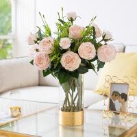 奇居良品 手感保湿玫瑰花仿真花配金箔玻璃花瓶客厅餐桌装饰花艺摆件
