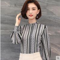 雪纺衫女长袖户外新品网红同款新款韩版时尚宽松灯笼袖打底衬衣百搭小花衫