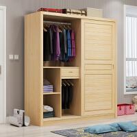 实木衣柜推拉门简约现代经济型全原木卧室衣橱松木衣柜家用 定制尺寸 2门