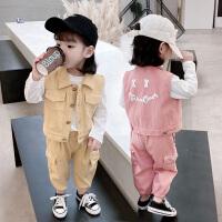 女童春装中小童套装洋气儿童马甲时髦女宝宝卫衣三件套